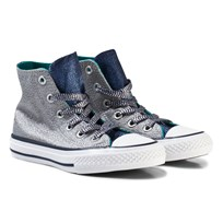 Converse Grey Shimmer and Navy Kids Chuck Taylor All Star - Hi Grey/navy