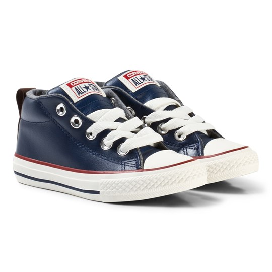 Converse Chuck Taylor All Star Street Leather and Fleece Mid Midnight Navy Navy/White