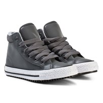 Converse Dark Grey and White Kids Chuck Taylor All Star Boot PC Thunder/Black & White