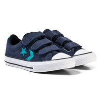 Converse Navy and White Kids Star Player EV 3V - OX Navy/Dark Obsidian/Turbo Green
