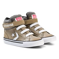 Converse Khaki and White Infants Pro Blaze Stripe - Hi Khaki/White