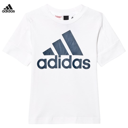adidas Performance White ID Logo Tee WHITE/BLUE NIGHT F17
