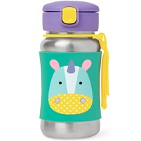 Skip Hop Zoo Stainless Steel Little Kid Straw Bottle Unicorn
