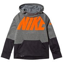 NIKE Black and Grey Sportswear Therma Hoodie CARBON HEATHER/BLACK