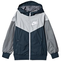NIKE Navy and Grey Sportswear Hooded Jacket ARMORY NAVY/WOLF GREY/COOL GREY/WHITE