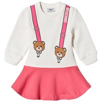 Moschino Kid-Teen Pink Bear Braces Print Sweat Dress 10063