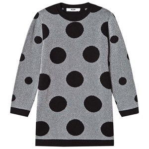Image of MSGM Black and Silver Lurex Spot Dress 12 years (2773544609)