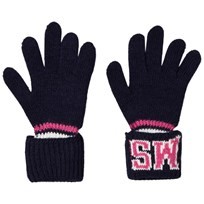 MSGM Navy and Pink Logo Knit Gloves 60
