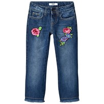 MSGM Blue Mid Wash Floral Embroidered Kick Flare Jeans 126