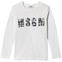 MSGM White Beaded Logo Tee 002