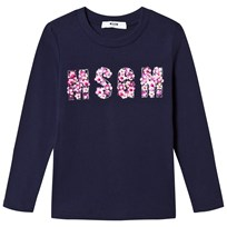 MSGM Navy Beaded Logo Tee 60