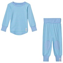 Geggamoja Bamboo Two-Piece Pyjamas L.Blue/Turquoise L.blue/turquoise