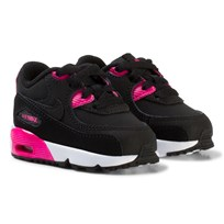 NIKE Black and Pink Nike Air Max 90 Leather Infants Trainers BLACK/PINK PRIME-WHITE