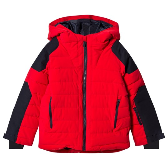 Fusalp Red and Navy Challenger Ski Hooded Jacket 205 Vermillon/Navy