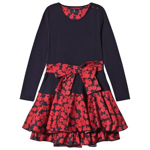 Image of Jessie & James Navy Poppies Print Bow Detail Dress 3 years (2743770485)