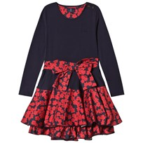 Jessie & James Navy Poppies Print Bow Detail Dress CIRCLES DRESS