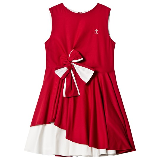 Jessie & James Red and White Audrey Dress with Bow Detail Royal Red
