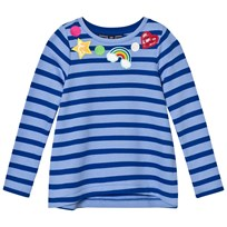 Lands End Blue Stripe Patches Around Neck Embellished Sweatshirt Top Stripe Patches 5DV