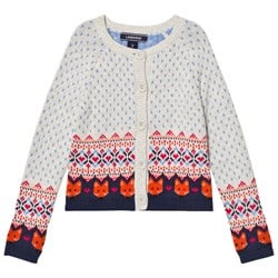 Lands' End Cream Multi Fox Fairisle Cardigan