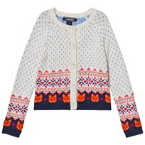 Lands End Cream Multi Fox Fairisle Cardigan Ivory Heather Fox Fairisle 5CG