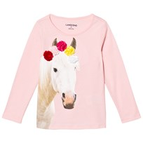 Lands End Pale Pink Flower Crown Horse Embellished Graphic Tee Flower Crown Horse 5O4