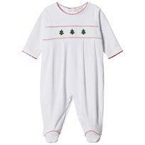 Kissy Kissy White Christmas Tree Embroidered and Smocked Jersey Babygrow WHRD