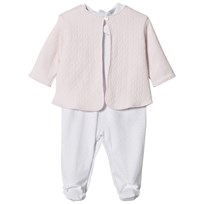 Kissy Kissy White Pink Dot Babygrow and Quilted Jacket Set PK