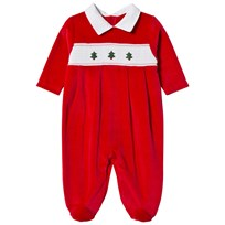 Kissy Kissy Red Velour Christmas Tree Embroidred and Smocked Babygrow RD