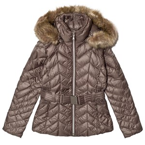 Image of Poivre Blanc Khaki Quilted Down Belted Jacket with Faux Fur Hood 16 years (2806807061)