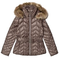 Poivre Blanc Khaki Quilted Down Belted Jacket with Faux Fur Hood 0053