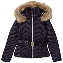 Poivre Blanc Navy Quilted Down Belted Jacket with Faux Fur Hood 0059