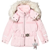 Poivre Blanc Pale Pink Belted Faux Fur Hood Ski Jacket with Embroidered Back 0032