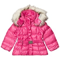 Poivre Blanc Pink Belted Down Ski Jacket with Faux Fur Hood 0034