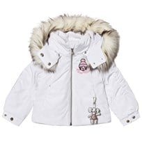 Poivre Blanc White Insulated Ski Jacket with Emroidered Back and Front 0001
