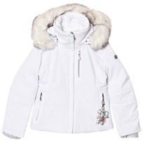 Poivre Blanc White Fitted Stretch Ski Jacket with Faux Fur Hood 0001