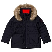 Poivre Blanc Navy Infants Down Padded Ski Jacket with Faux Fur Hood 0059
