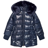 Mayoral Navy Shimmer Long Line Hooded Puffer Coat 68