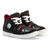 Diesel Black Pirate Mid Logo Lace Trainers H6472