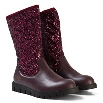 Lelli Kelly Glitter Leather Mid Boots Burgundy Burgundy