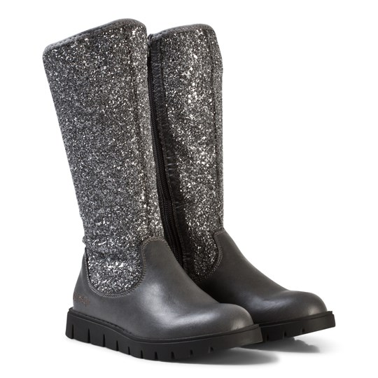 Lelli Kelly Glitter Leather Tall Boots Grey Black