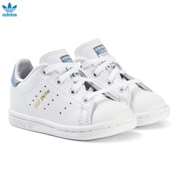 adidas Originals White and Blue Stan Smith Infant Trainers