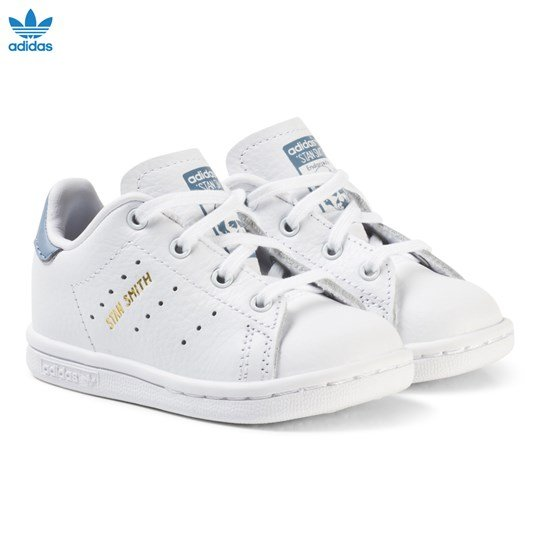 adidas Originals White and Blue Stan Smith Infant Trainers FTWR WHITE/FTWR WHITE/TACTILE BLUE S17