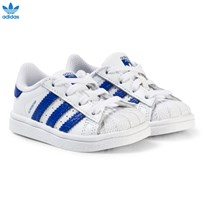 adidas Originals White and Blue Infants Superstar Trainers FTWR WHITE/BOLD BLUE/BOLD BLUE