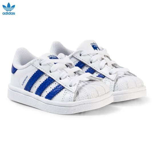 adidas Originals White and Blue Superstar Infant Trainers FTWR WHITE/BOLD BLUE/BOLD BLUE