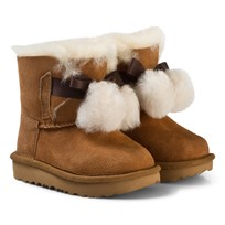 UGG Dark Brown Gita Pom Pom Boots Chestnut