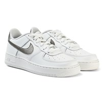 NIKE White and Metallic Nike Air Force 1 Junior Trainers SUMMIT WHITE/MTLC PEWTER-SUMMIT WHITE