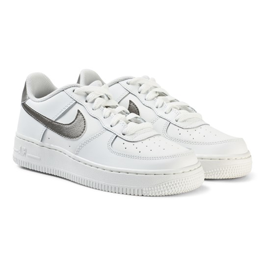 NIKE White and Metallic Nike Air Force 1 Junior Sneakers SUMMIT WHITE/MTLC PEWTER-SUMMIT WHITE