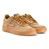 NIKE Light Brown Nike Air Force 1 Winter Premium Junior Trainers FLAX/FLAX-OUTDOOR GREEN-GUM LIGHT BROWN