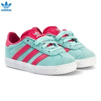 adidas Originals Aqua and Pink Infants Gazelle Trainers ENERGY AQUA F17/SUPER PINK F15/GOLD MET.