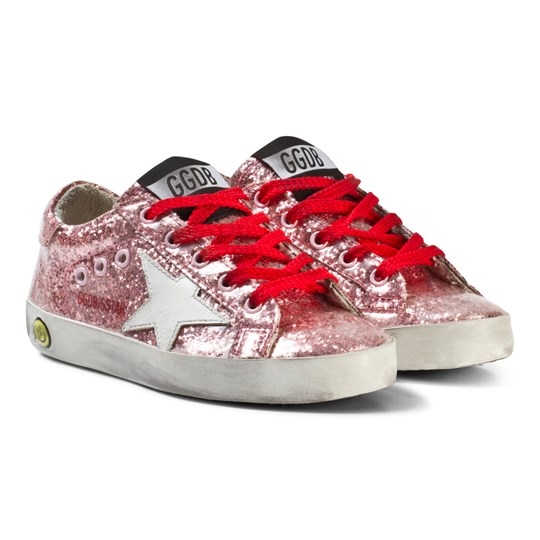 Golden Goose Pink Glitter Star Print Superstar Sneakers Pink Glitter/Red Lace